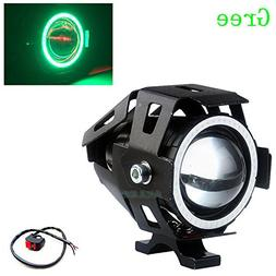 2Pcs Angel Eyes Light 125W Motorcycle Headlight LED Fog Spot