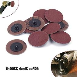 50Pcs 2 Inch 320 Grit Roll Lock Grinding Discs Abrasives Too