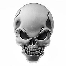 3D Chrome Silver Skull Demon Bone Emblem Decal Sticker Fairi