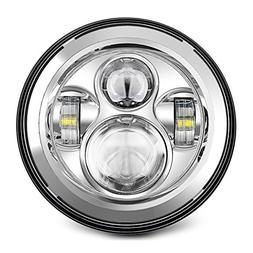 "7"" LED Headlight For Harley Davidson MOTORCYCLE CHROME PROJE"