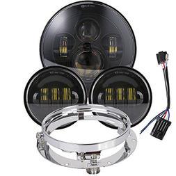 7 inch Daymaker LED Headlight DOT Kit Set Fog Passing Lights