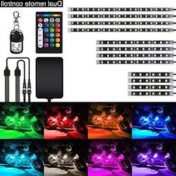 AMBOTHER 12Pcs RGB Motorcycle LED Lights Kit Strip Neon Ligh