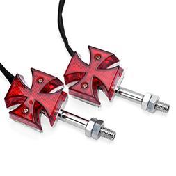 Astra Depot 2pcs Red Maltese Cross LED Marker Turn Signal Li