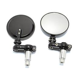 """Black Foldable 3"""" Round 7/8"""" Handle Bar End Side Mirrors for"""