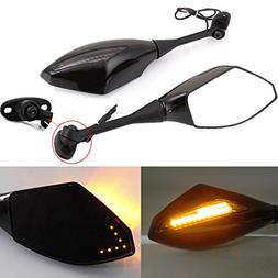 Black Motorcycle Side Rear View Mirrors with Turn Signal for