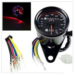 DLLL Universal Motorcycle 12V Dual Odometer Speedometer Gaug