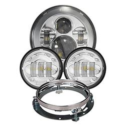 Dot Appoved Chrome Harley 7inch LED Headlight with 4.5inch M