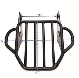 HTT- Motorcycle Flat Black King Detachable Luggage Rack For