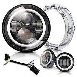Halo LED Headlight 7 inch DOT Approved 4.5 inch Fog Passing