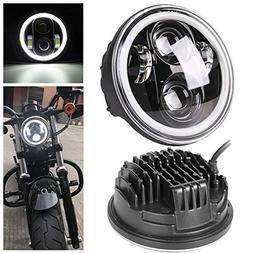 """Hozan 5-3/4"""" Black Projector Daymaker Headlight with White D"""