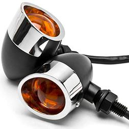 Krator 2pc Black/Chrome Motorcycle Turn Signals Lights For V