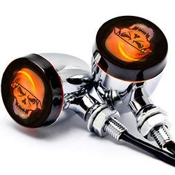Krator 2pc Skull Lens Chrome Motorcycle Turn Signals Bulb Fo