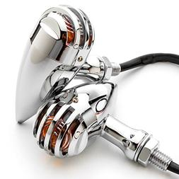 Krator 2pcs Chrome Heavy Duty Motorcycle Turn Signals Finned