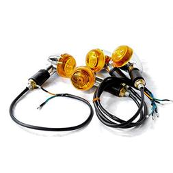Krator Motorcycle 4 pcs Amber Bullet Turn Signals Lights For