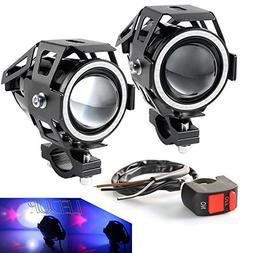 LEDUR LED U7 Motorcycle Headlight DRL Fog with Angel Eyes Li