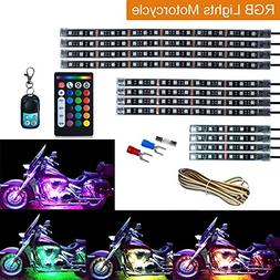 Leeleberd 12PCS Motorcycle RGB LED Strip Lights kit, Multi-C