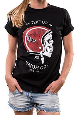 Motorbike Gifts for Women - Oversized Skull T-Shirt with Mot