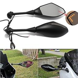 Motorcycle Rearview Side Mirrors with LED Turn Signal Mirror