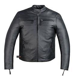 New Men's Armor Touring Motorcycle Leather Cruiser Stretchab