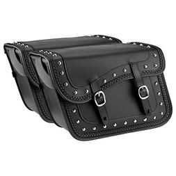 Nomad USA Slanted Braided Studded Leather Motorcycle Saddleb
