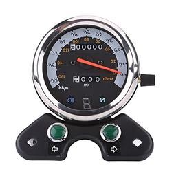 Qiilu Universal Motorcycle Dual Odometer Speedometer With Di