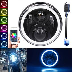 "RGB Halo 7"" Round Harley headlamp, LED Headlight for Harley"