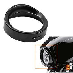 "ROCCS 7"" Harley Black Headlight Ring, Motorcycle Head Lamp T"