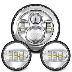 Sunpie 7 Inch Chrome Harley Daymaker LED Headlight+ 2 x 4-1/