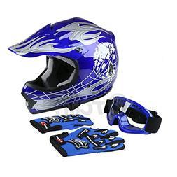 TCMT Dot Youth & Kids Motocross Offroad Street Helmet Blue S