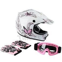 TCMT Dot Youth & Kids Motocross Offroad Street Helmet Pink B