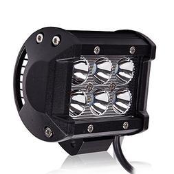 "TURBOSII 4"" 18W 12-24V Spot Beam LED Work Lights on Windshie"
