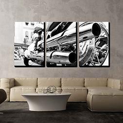 wall26 3 Piece Canvas Wall Art - Motorcycle/Motor Bike in Bl