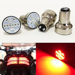 Mega Racer Combo 2 Pair Motorcycle 1157 Red LED 12 Chip BAY1