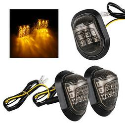 2x 12V Amber Motorcycle 9 LED Flush Mount Turn Signals Indic