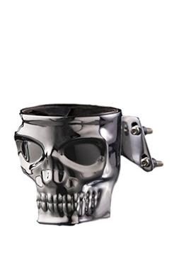 Kruzer Kustom Kaddy Chrome Skull Motorcycle Cup Holder Mount