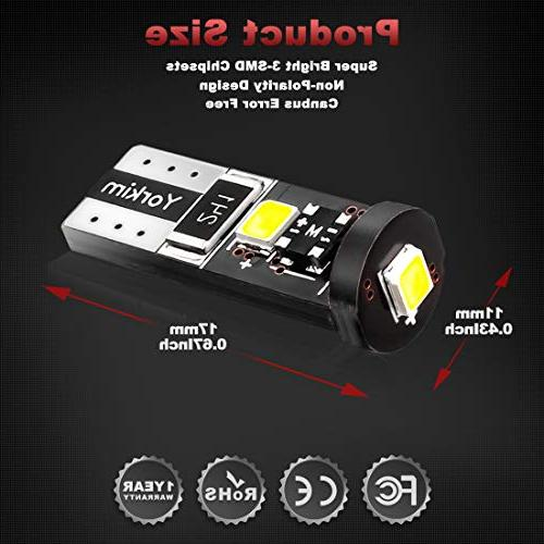 Yorkim 194 Led Canbus Error Free T10 bulb Super Bright Light 2835 T10 Courtesy - Wedge W5W 194 168 2825 of