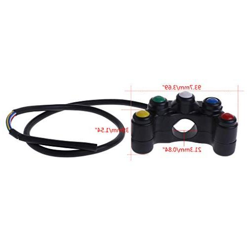 Autone 5 12V Motorcycle 7/8 22mm Lights On-Off Waterproof