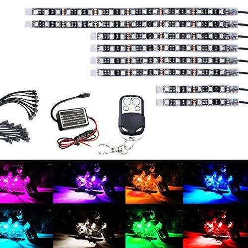AMBOTHER 8Pcs Motorcycle LED Light Kit Strips Multi-Color Ac