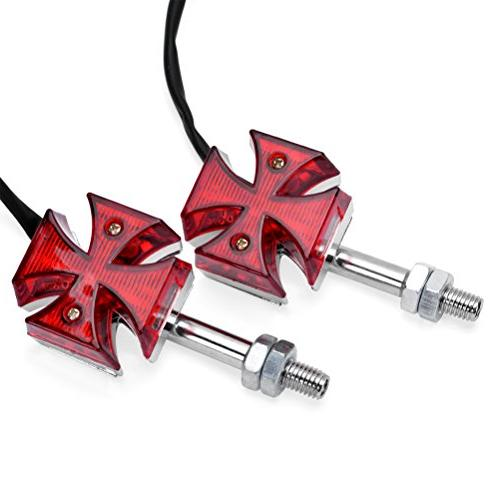 Astra Depot 2pcs Red Maltese Cross LED Marker Turn Signal Li