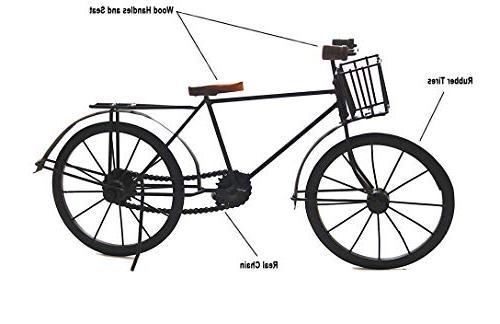 "Deco 89 Art décor Retro Handmade Solid Bicycle 8"" Tall Black"