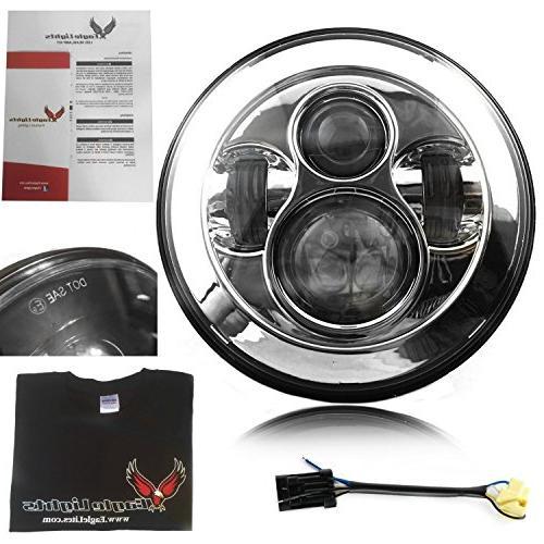 "Eagle Lights 8700W Chrome 7"" Round LED Headlight with 692008"
