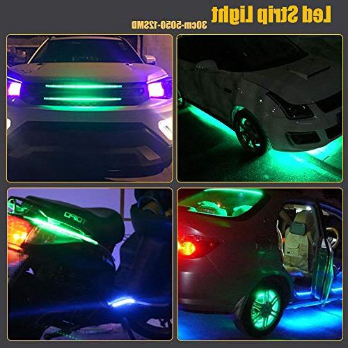 EverBright 5050 12-SMD DC 12V Flexible Strip Waterproof Motorcycles Decoration Light Interior Exterior Vehicle DRL with built-in