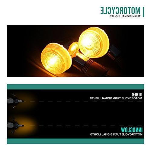 INNOGLOW Motorcycle Turn Lights Chrome Rear Blinker Indicator Light for Honda Kawasaki Suzuki Standard Custom