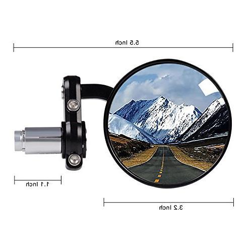 Kawell Mirror Bar End Convex Hawk-eye Mirror For Handle Fits Suzuki Honda