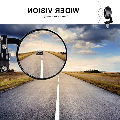 Kawell Side Mirror Round Convex Hawk-eye Motorcycle Mirror For Handle Fits Most Harley Suzuki Honda Kawasaki Cruisers