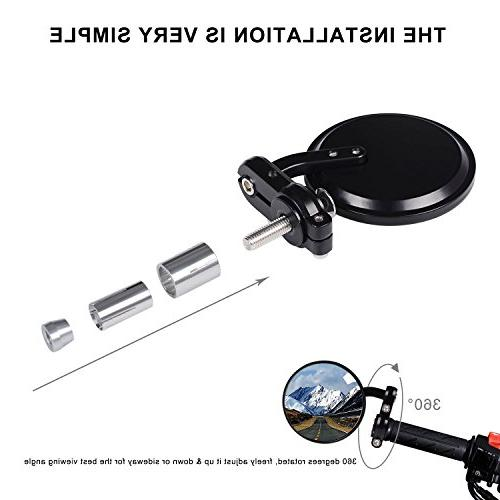 Kawell Rear Mirror Round Convex Hawk-eye For Handle Fits Most Suzuki Kawasaki Cruisers
