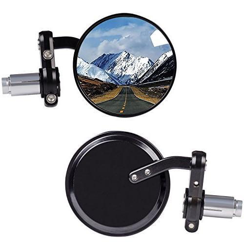 Kawell Rear View Side Mirror Round Bar End Convex Hawk-eye M