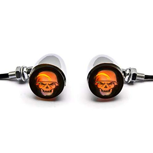 Krator Skull Chrome Motorcycle Signals Bulb Classic 900