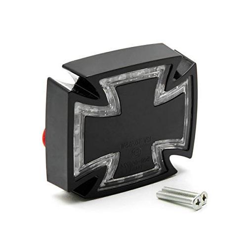 Krator Black Templar Cross Maltese Taillight Brake Light For