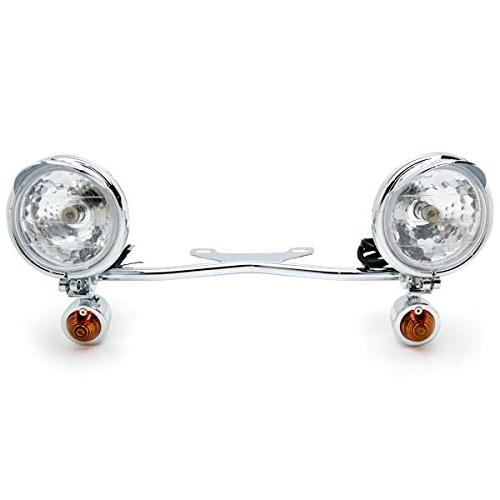 krator chrome motorcycle passing light bar  u0026 turn